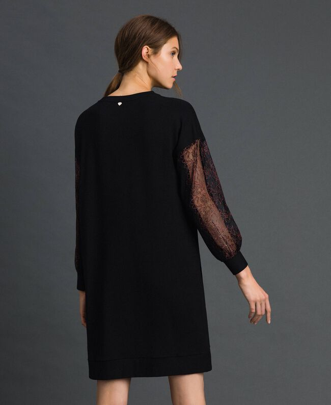 Robe en molleton avec dentelle bicolore Noir Femme 192LI24CC-04
