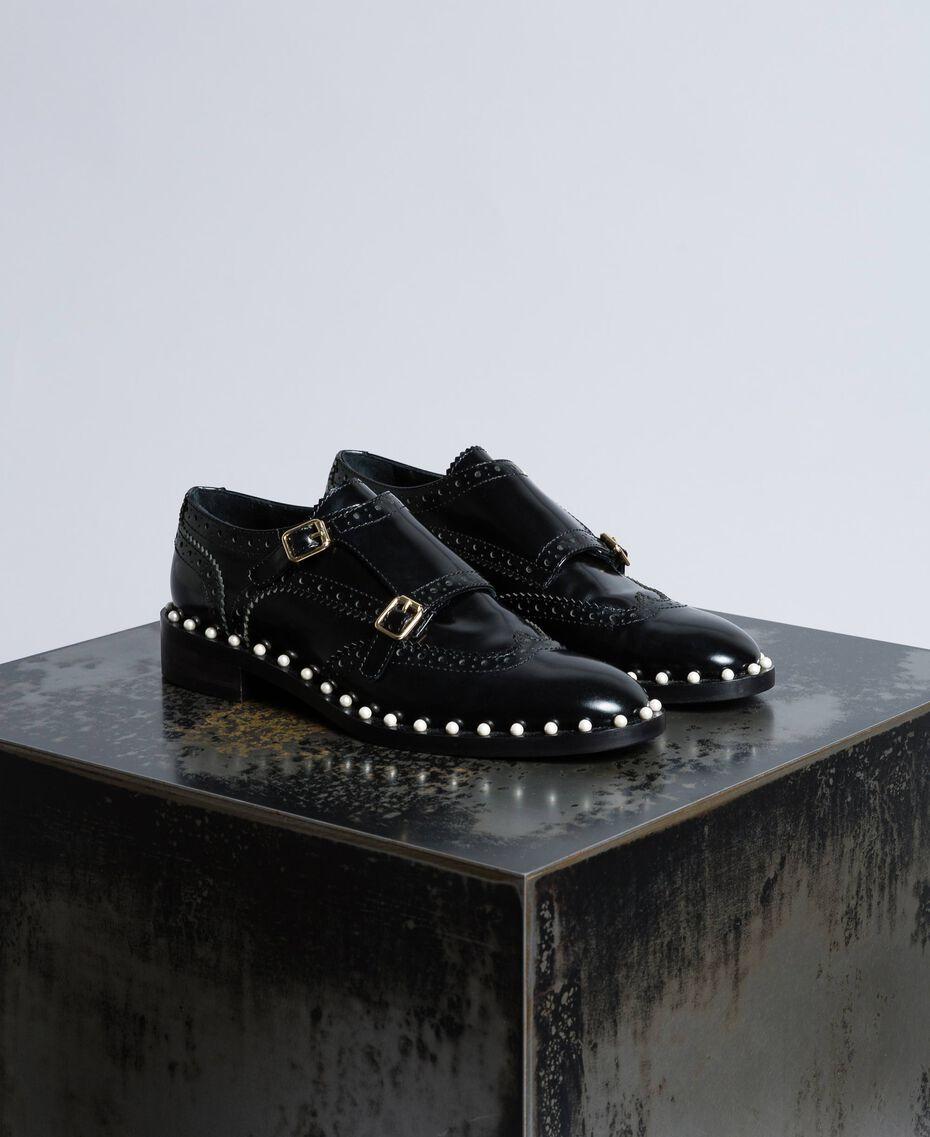 Chaussures à lacets brogues en cuir avec perles Noir Femme CA8PES-01