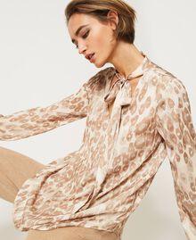 "Animal print satin blouse ""Dune"" Beige Animal Print Woman 202MP243D-04"
