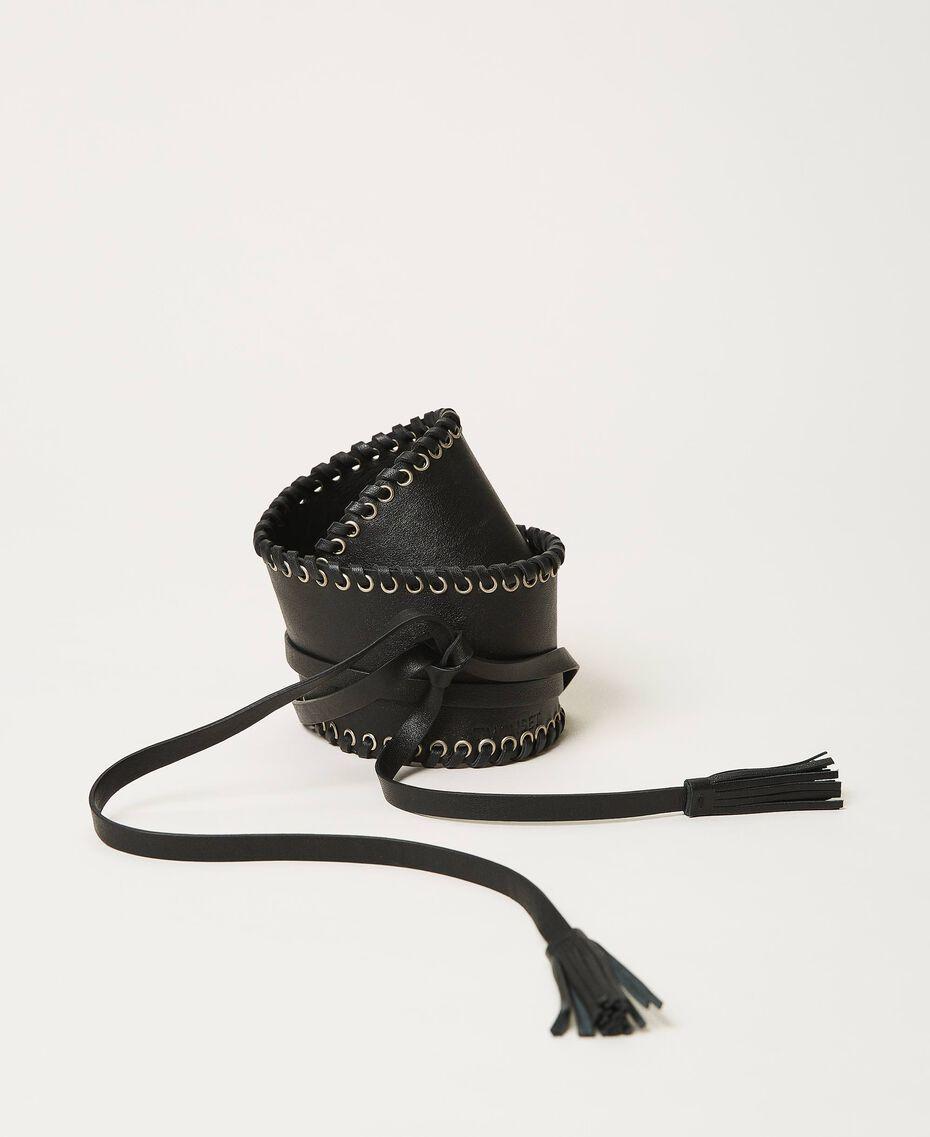 Cinturón fajín de piel con velas Negro Mujer 211TO506C-02