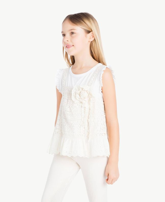 "T-shirt and lace top Two-tone ""Papyrus"" White / Chantilly Child GS82Z2-03"