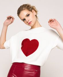 """Heart shaped jumper with heart and sequins Two-tone Lily / """"Venetian"""" Red Woman 201MP3120-04"""