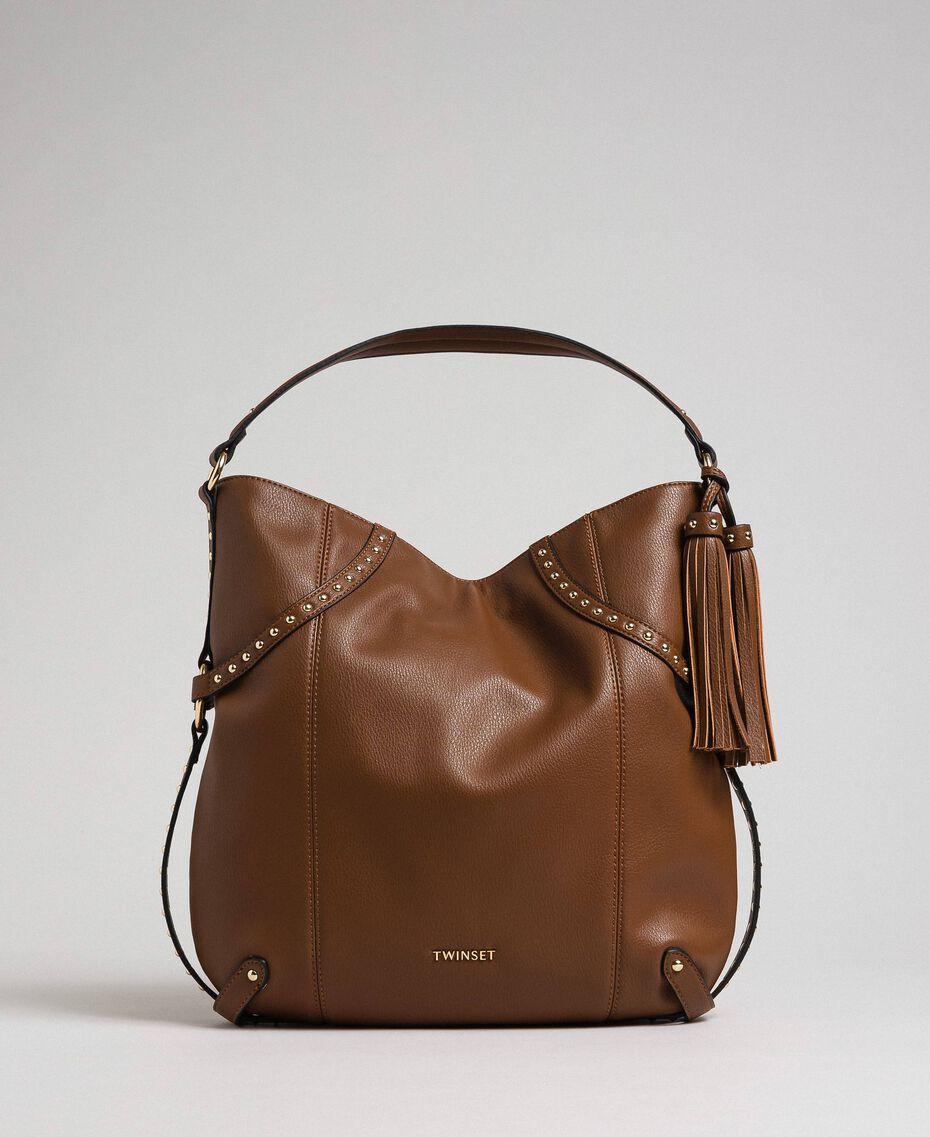 Borsa hobo in similpelle con borchie Cuoio Donna 192TO8161-01