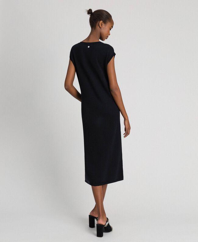 Robe color block avec broderie de sequins Rayé Noir / Blanc «Neige» / Gris Chiné Foncé Femme 192ST3073-04