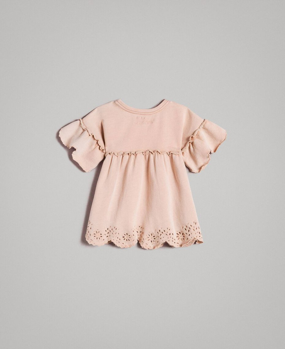 Fleece dress with broderie anglaise Blossom Pink Child 191GB2241-0S