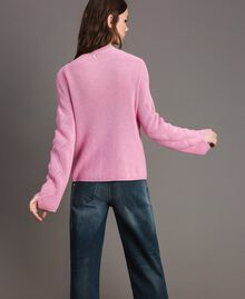 Cotton cardigan with brooch Hydrangea Pink Woman 191MP3092-04