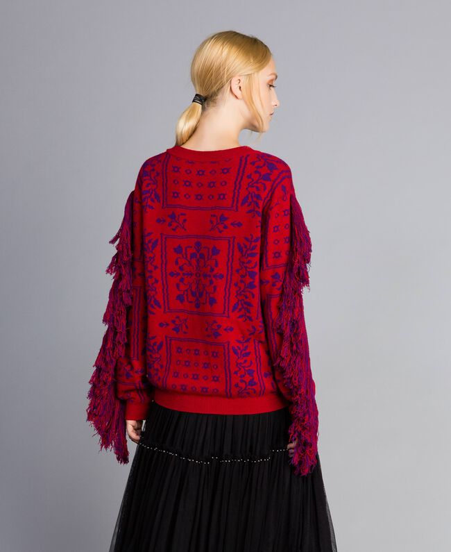 """Maxi jacquard jumper with fringes Two-tone """"Blackberry"""" Purple / Cherry Red Woman QA8TBN-04"""