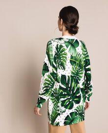 Длинная трикотажная кофта с принтом и отделкой пайетками Принт Тропический Горошек Зеленый женщина 201TP3263-04