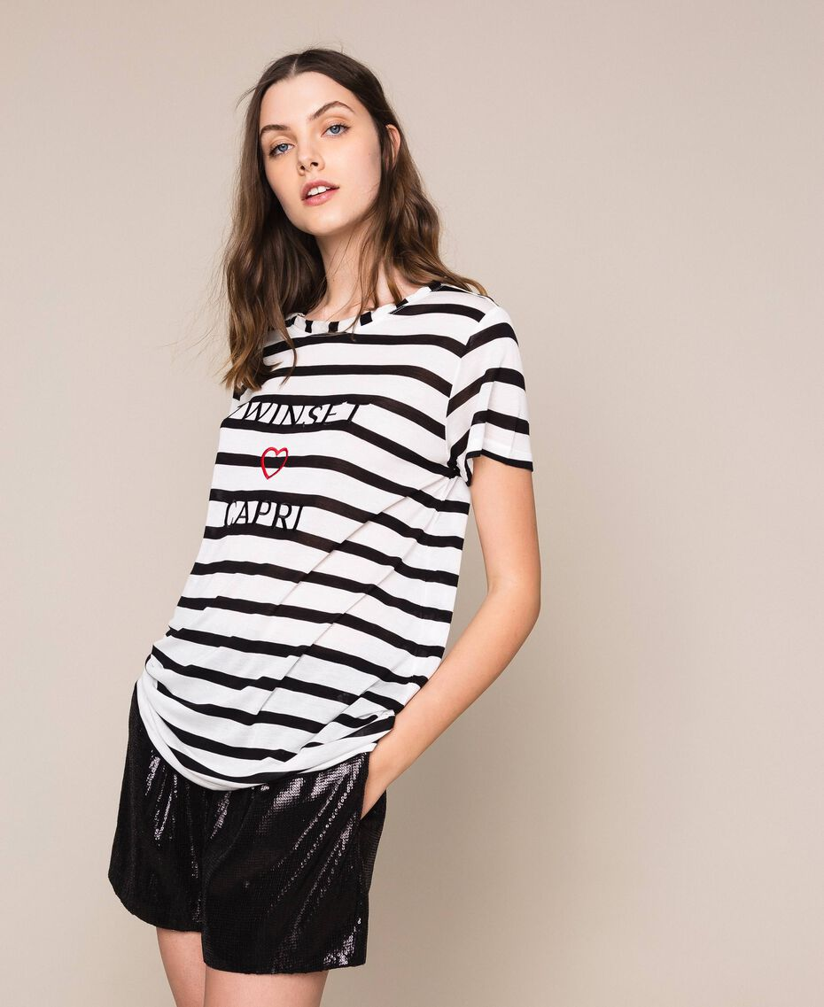 Striped maxi T-shirt with embroidery Capri Stripes Woman 201LM2LUU-02