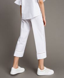 Poplin trousers with embroideries White Woman 191TT2244-03