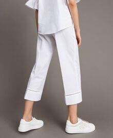 Pantalon en popeline avec broderies Blanc Femme 191TT2244-03