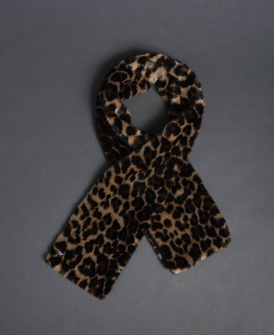 Animal print faux fur stole