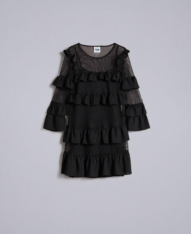 Kleid aus Netzstoff mit Volants Frau, Schwarz | TWINSET Milano