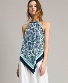 Schal-Top aus Chinakrepp Motiv Blunight Dressing Schal Frau 191MT2121-01