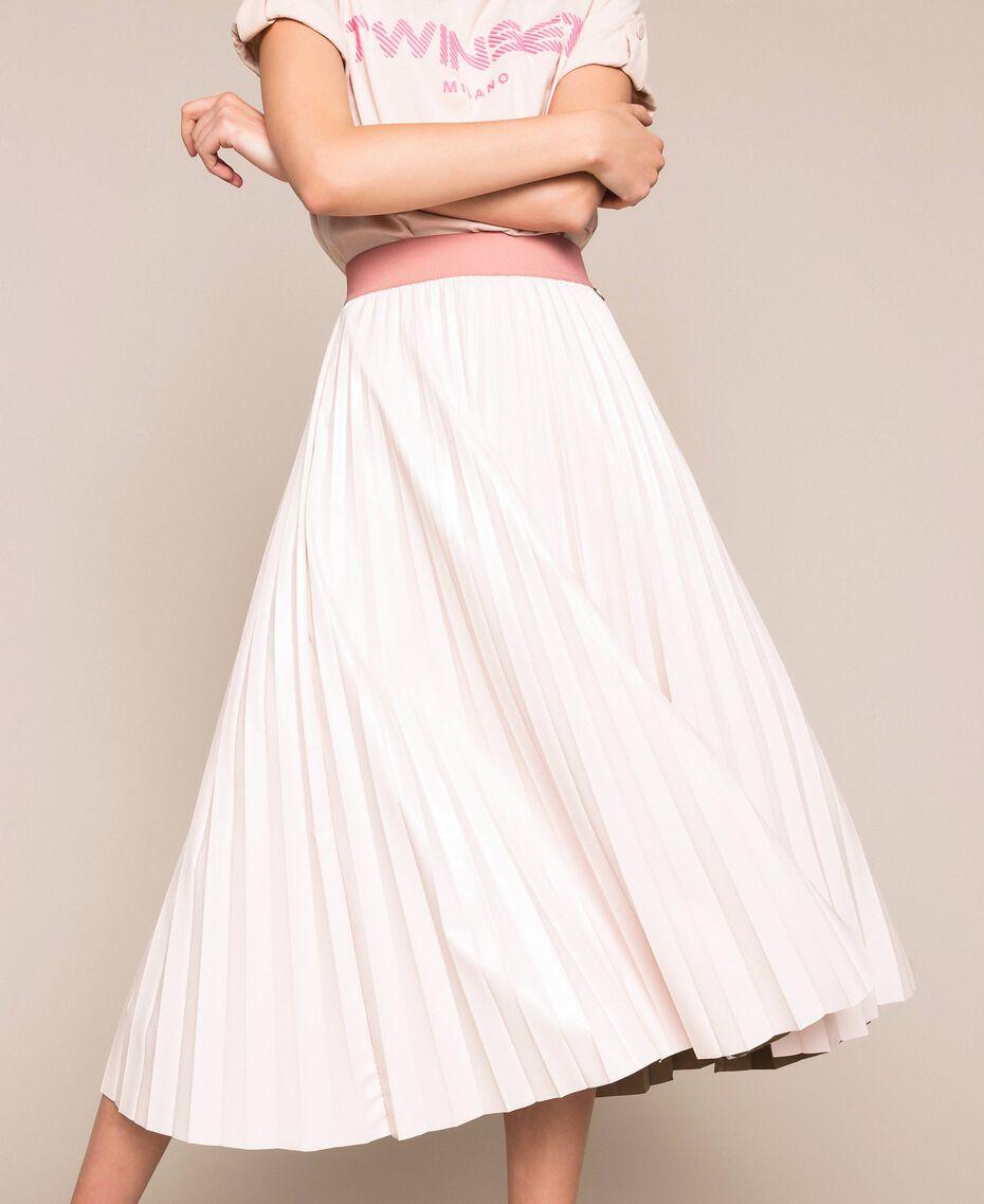 Юбка-миди из блестящей искусственной кожи Розовый Бутон женщина 201TP220A-02