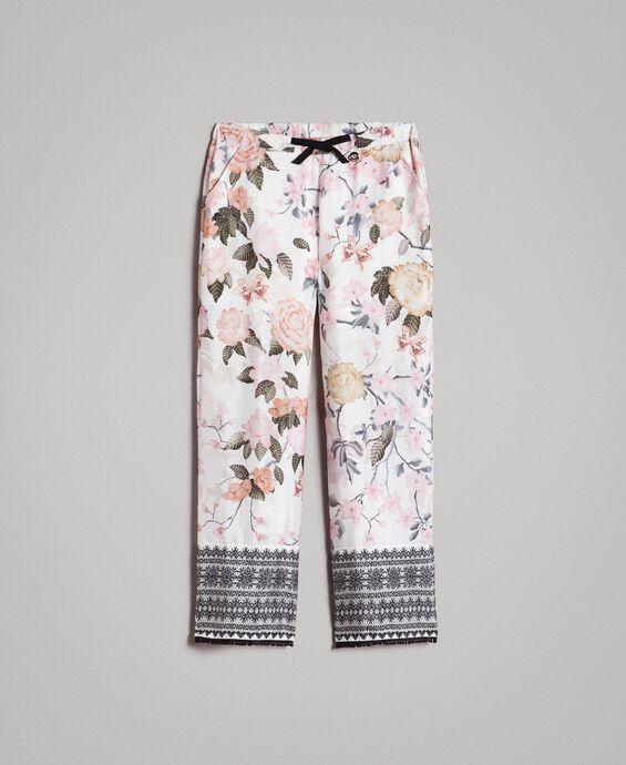 Pantaloni in viscose a fiori con stampa pizzo