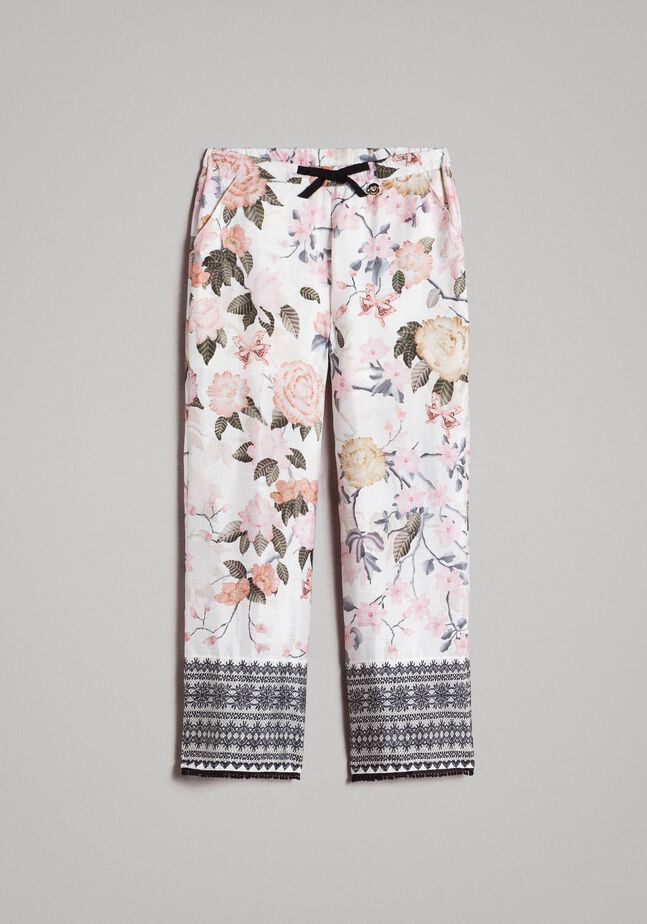 Floral viscose trousers with lace print