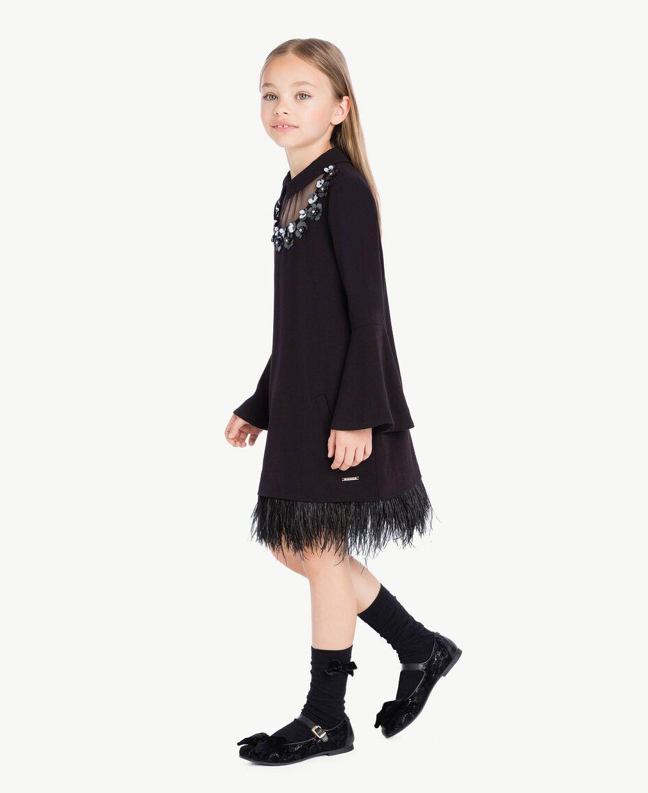 Kleid mit Federn Schwarz GA72M1-02