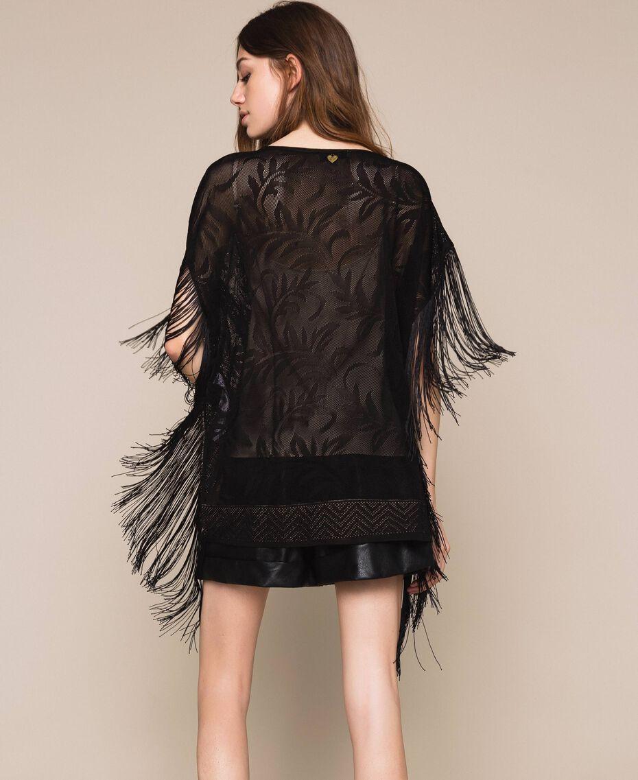 Maxi pull en dentelle filet avec franges Noir Femme 201TT3011-03