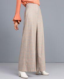 Pantaloni palazzo in flanella check Multicolor Quadri Donna TA8214-02
