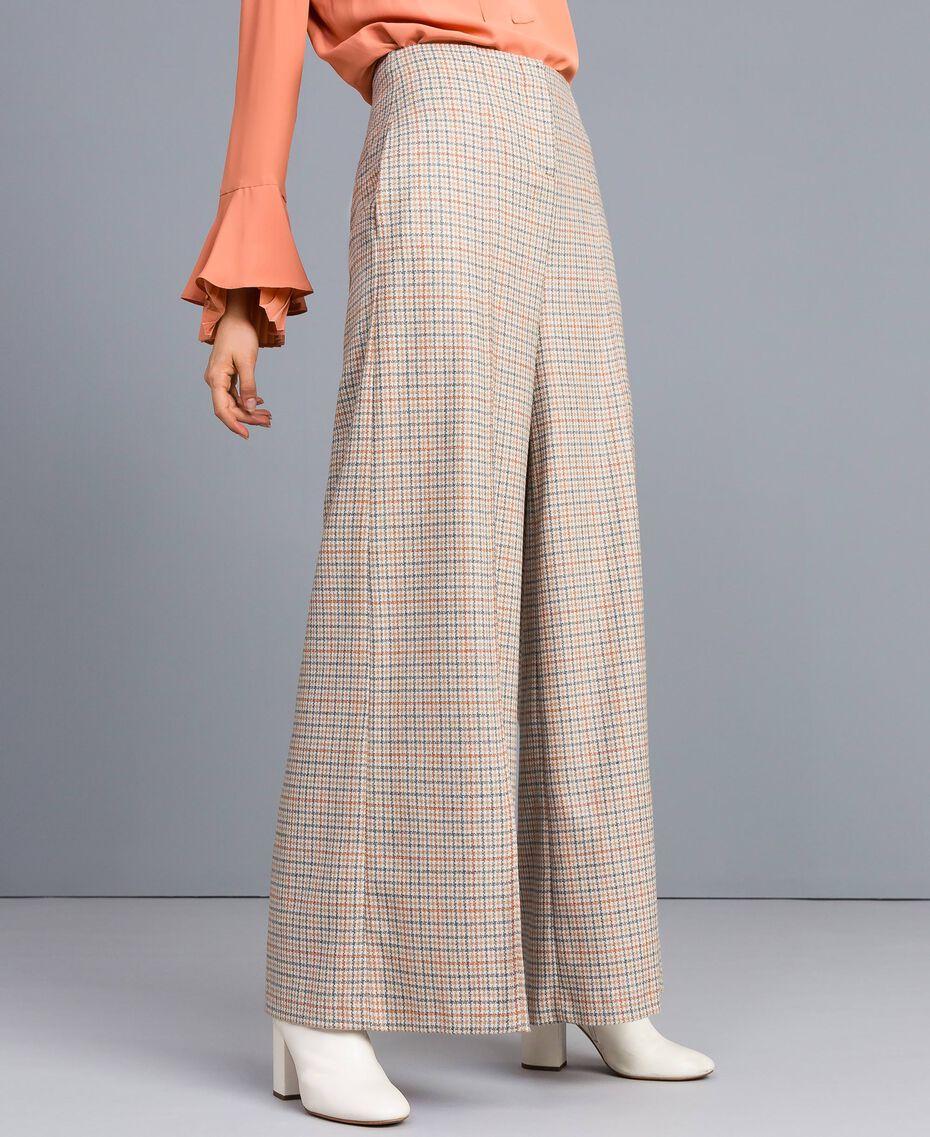 Check flannel palazzo trousers Multicolour Check Woman TA8214-02