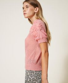 "Mohair jumper with embroidery ""Peach Blossom"" Pink Woman 202TP3261-01"