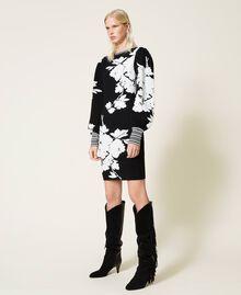 Robe jacquard florale Jacquard Fleurs Blanc «Neige»/ Noir Femme 212TP3540-06