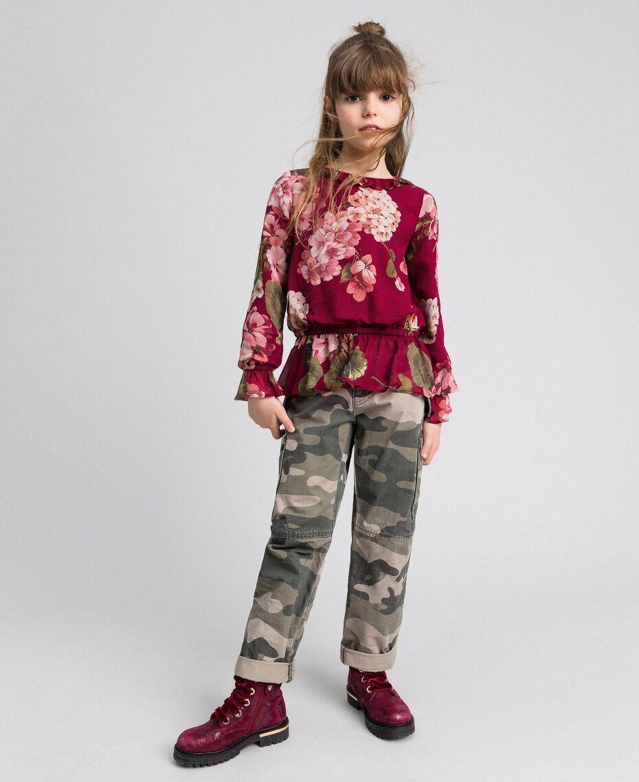 Blouse en crêpe georgette avec imprimé floral Imprimé Rouge Betterave Géranium Enfant 192GJ2591-02