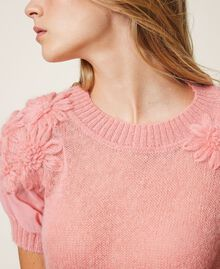 "Mohair jumper with embroidery ""Peach Blossom"" Pink Woman 202TP3261-04"