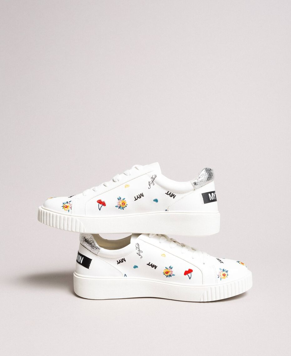 Kunstleder-Sneakers mit Logo White Sahne Frau 191MCP080-01