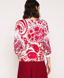 "Printed jumper with feathers ""Lava"" Red Cashmere Print/ ""Blossom"" Pink Woman 201TP3267-04"