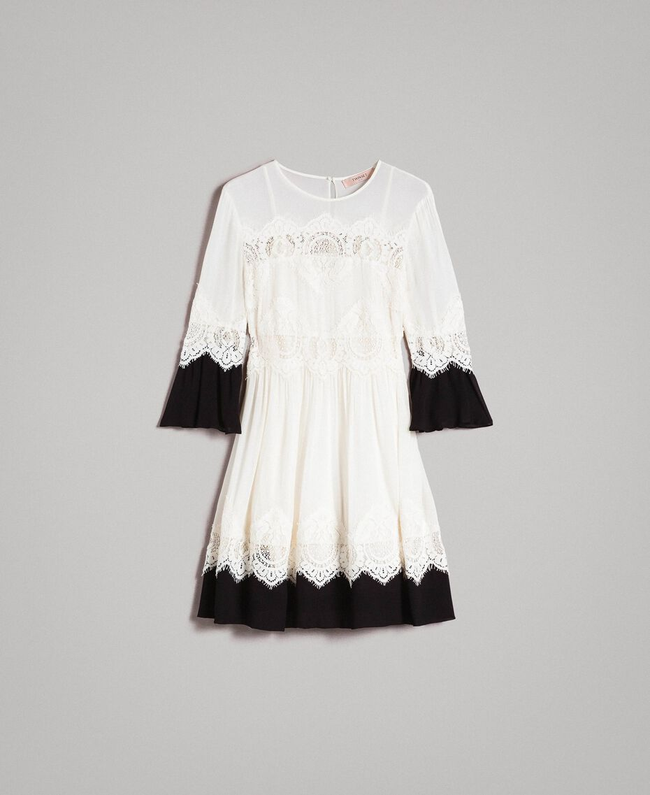 "Georgette dress with lace Bicolour ""Snow"" White / Black Woman 191TT2102-0S"