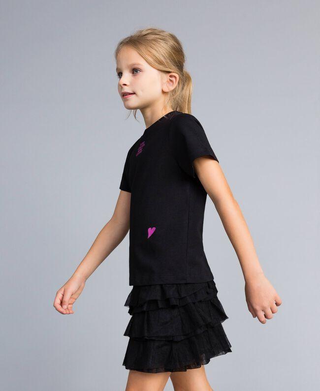 T-shirt unisexe junior en coton avec imprimé Noir Enfant QA8TMP-03