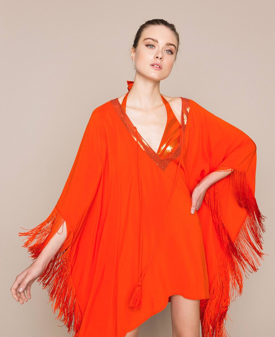 "Kimono-style kaftan with fringes ""Ace"" Orange Woman 201LB2CLL-01"