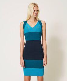 """Schlauchkleid aus Gestrick im Color-Block-Look """"Multicolor""""-Blau Frau 202TP3230-01"""