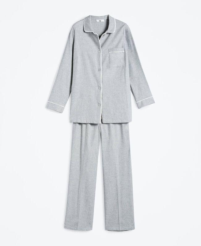 Pyjama aus meliertem Flanell Durchschnittgrau-Mélange Frau LA8BHH-01