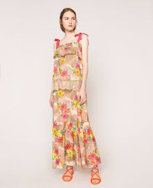 Camouflage and floral print skirt Multicolour Hibiscus Print Woman 201MT2384-02