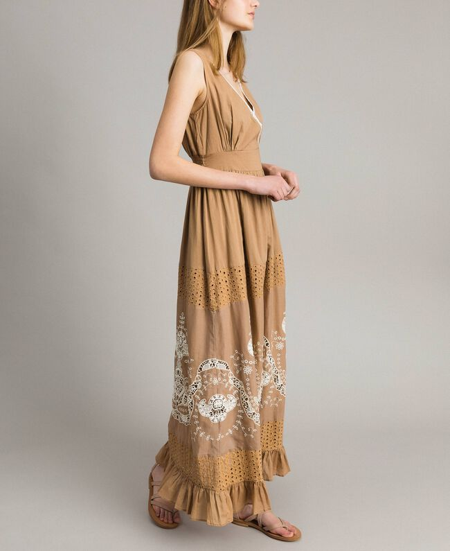 """Voile long dress with broderie anglaise embroidery Two-tone """"Savannah"""" Beige / Ecru Woman 191ST2114-01"""