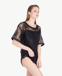 Maxi T-shirt with lace Black Woman LS8FFF-03