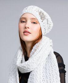 Schal mit Stickereien aus Wollgemisch Weiß Schnee Frau QA8TKP-0T