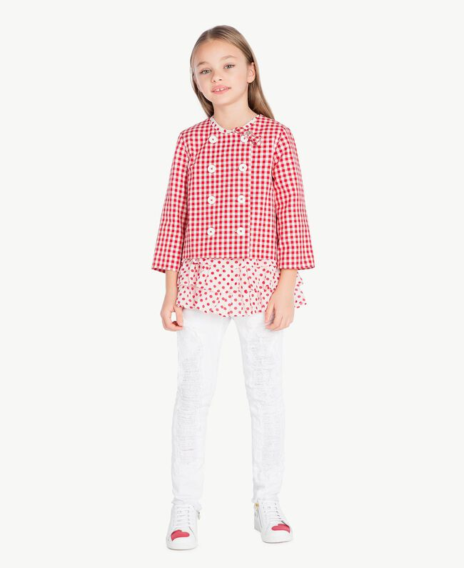 Gingham jacket Gingham / Pomegranate Red Jacquard Child GS82ZA-06