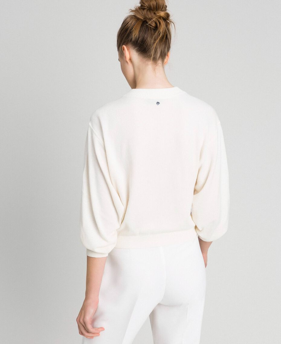 Cashmere blend jumper with embroidery White Snow Woman 192TQ3038-05