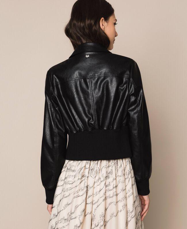 Куртка из искусственной кожи на высоком поясе Черный женщина 201MP2030-03