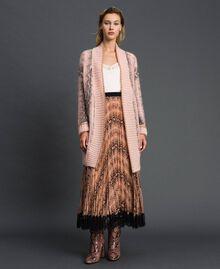 Animal print mohair maxi cardigan Canyon Pink Python Print Woman 192TT3331-01
