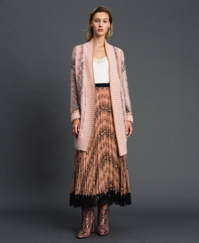 Maxi cardigan in mohair animalier Stampa Pitone Rosa Canyon Donna 192TT3331-01