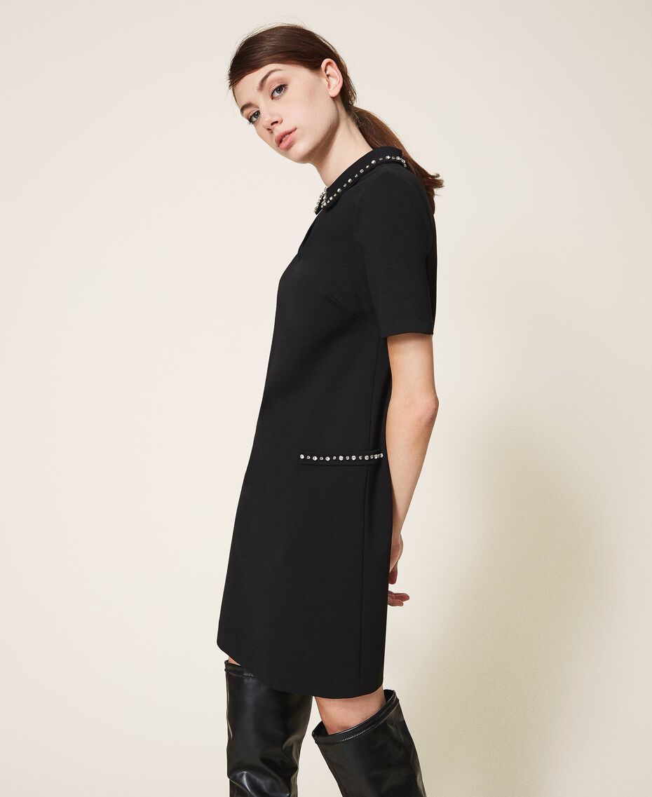 Dress with embroidery Black Woman 202TP251A-02