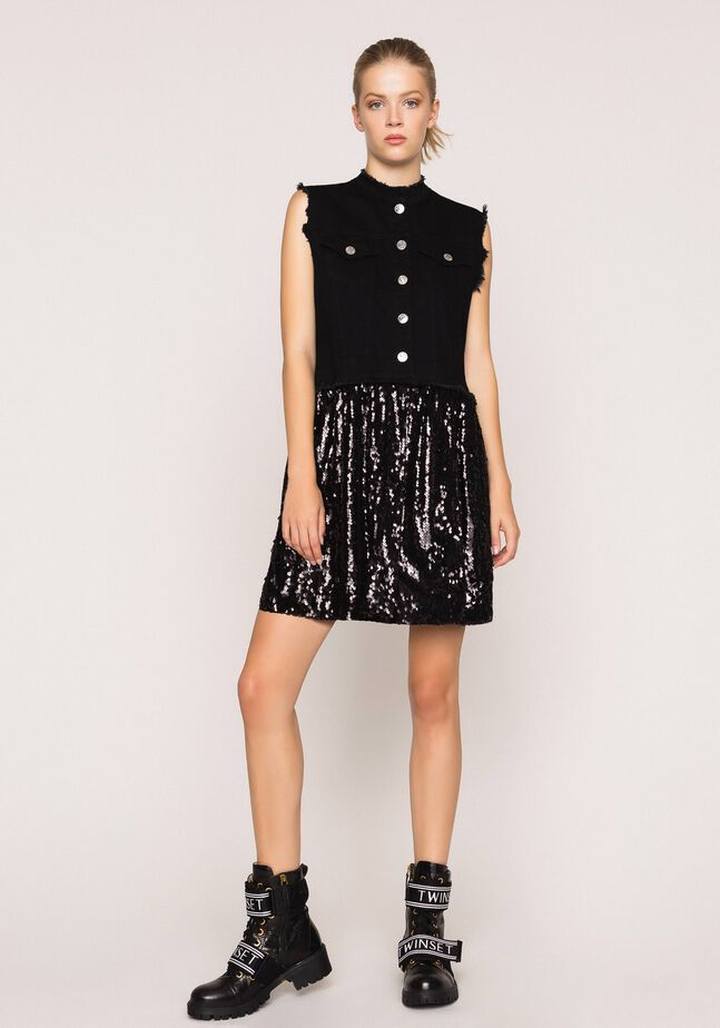 Full sequin shirt dress
