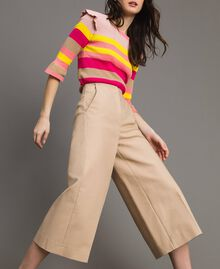 Cropped technical cotton trousers Nougat Beige Woman 191TP2184-01