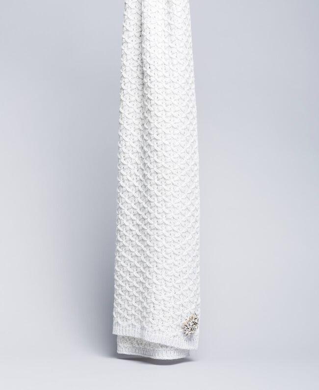 Schal mit Stickereien aus Wollgemisch Weiß Schnee Frau QA8TKP-01
