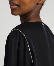 Satin dress with rhinestones Black Woman 192LI21SS-04